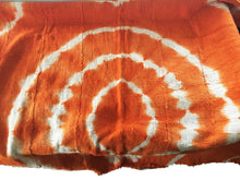 "Load image into Gallery viewer, African Bogolan Textile Mud Cloth Orange & White 40"" by 60"" # 1978"