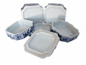 "#1021 Chinese Blue and White  Set Of Boxes 9"" h"