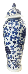 "Tall B&W Chinoiserie Porcelain Ginger Jar  23"" H"