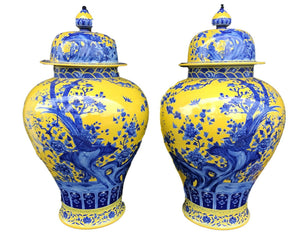 "Museum Quality Lg Chinese Famille Jaune Ginger Jars - a Pair 30.75"" H by 17.5"" D"