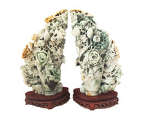 "Load image into Gallery viewer, Stunning LG Pair of Chinese Jadeite Jade Peony Groups  16"" H 20 LBS"
