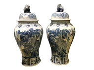 Mansion Size Chinoiserie B & W Porcelain Landscape Ginger Jars - a Pair 36