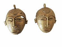 "Load image into Gallery viewer, African Baule Gold Weight Passport/Pendant Bronze Mask  S/2   2.75"" h"