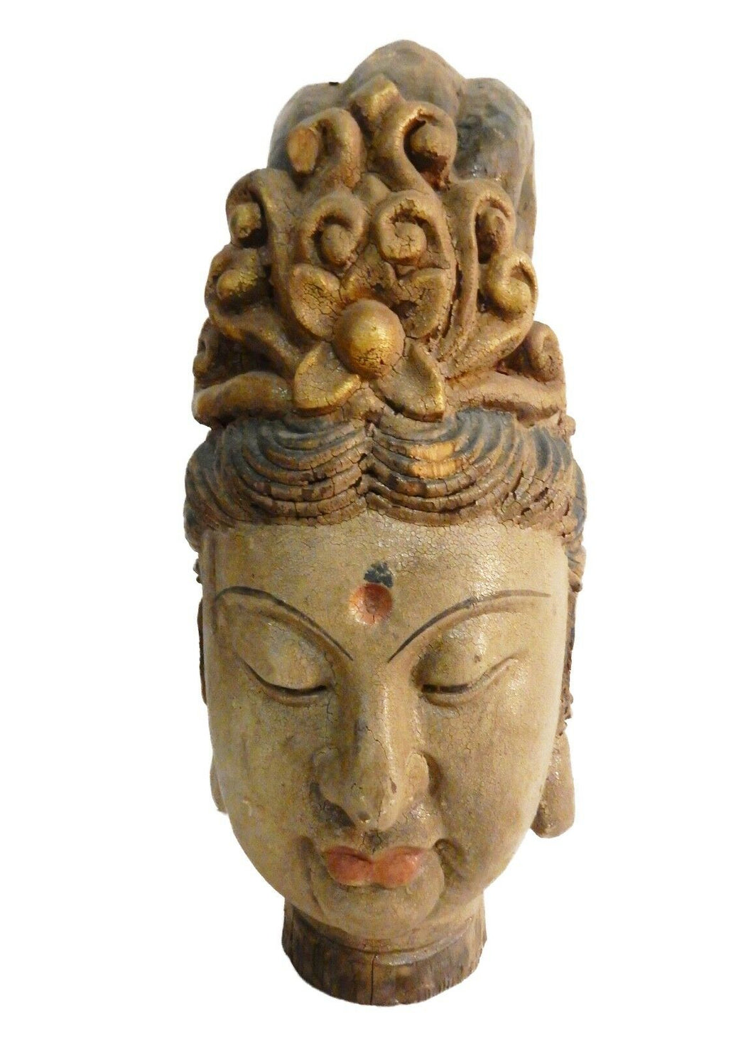 Superb LG Chinese Wood head Of A Kuan Yin  16.5
