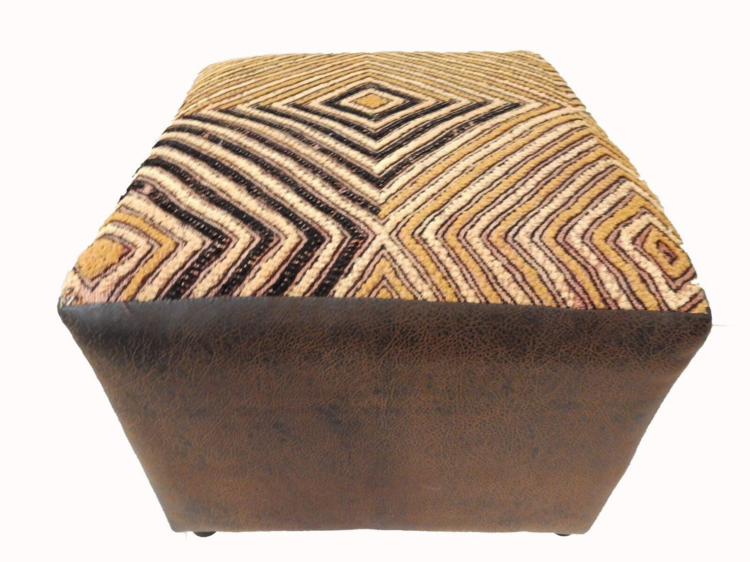 Superb African Square Kuba Textile Ottoman 18.5