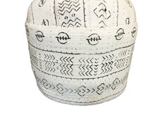 "Load image into Gallery viewer, LG Ottoman in African Malian White & Black Mud Cloth  Textile  17.5"" h"