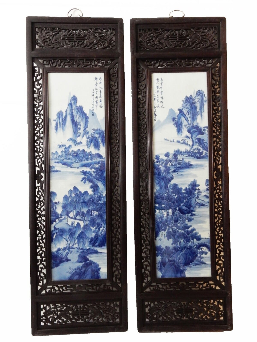 Chinese H.Painted Large Blue and White Porcelain Wood Panels,Pair 20ʺW x 66