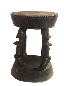"#652 African Dogon  Carved Wood Milk Stool Mali 12"" H by 9.25"" D"