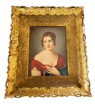 "Load image into Gallery viewer, Antique Victorian /Rare/ Celluloid  Painting 15"" h by 12.5"" w Signed HIL"