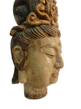 "Load image into Gallery viewer, Superb LG Chinese Wood head Of A Kuan Yin  16.5"" H"