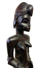 "Load image into Gallery viewer, Tanzanian Mid Century Ebony Wood Sculpture of a Seated Female 15.5"" H"
