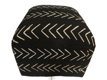 "Load image into Gallery viewer, Superb  LG  Ottoman in African Malian  Mud Cloth 18."" h by18"" D by 18"" w"