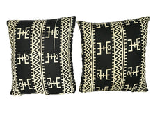 Load image into Gallery viewer, African Custom Made Black and White Kente Cloth Pillows S/2