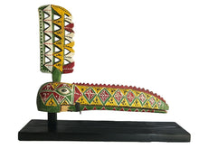 "Load image into Gallery viewer, African Lg Old Colorful Bird Mask Bozo Bamana W/Stand  28""W"