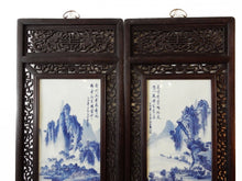 "Load image into Gallery viewer, Chinese H.Painted Large Blue and White Porcelain Wood Panels,Pair 20ʺW x 66""H"