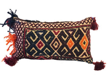 "Load image into Gallery viewer, Antique Lumbar Afghan Tribal Pillow 14"" W"