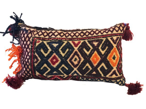 "Antique Lumbar Afghan Tribal Pillow 14"" W"