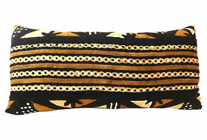 "Superb African Mud Cloth large  Long Pillow 28"" Lwx 6"" Whx 14""D # 1"