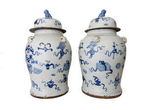 "Chinese Porcelain Large B & W Ginger Jars 23"" h"