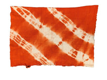 "Load image into Gallery viewer, African Bogolan Textile Mud Cloth Orange & White 44"" by 60"" Set of two"