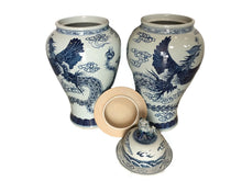 "Load image into Gallery viewer, Mansion Size Chinoiserie B & W Porcelain Ginger Jars - a Pair 35"" H"