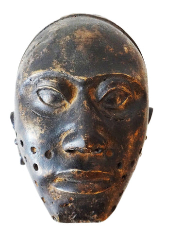 Superb African Bamum Bronze head Mask Cameroon 11'H