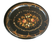 Load image into Gallery viewer, 19th Papier Mâché Hand Painted Oval Tray Table W/ Mother of Pearl Inlay 22.5' H #525