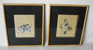 SUPERB 2 JAPANESE NOH DRAMATIC ACTORS WATERCOLOR 20THC