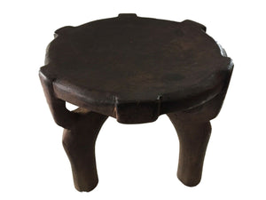 "#1753 African Old Carved Wood Milk Stool Hehe Gogo People Tanzania 10"" H"