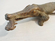 "Load image into Gallery viewer, Superb Bronze AfricanTribal/ Ashanti Akan Of a CROCODILE I Coast 1.5"" h by 11""w"