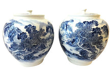 "Load image into Gallery viewer, #2338 Superb LG H. Painted B & W Chinoiserie Ginger Jars 16.75"" H"