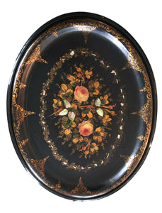19th Papier Mâché Hand Painted Oval Tray Table W/ Mother of Pearl Inlay 22.5' H