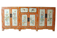 #2155 Superb Mongolian hand painted Elm Cabinet W/ Six Doors