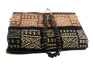 Superb Bogolan Mali Mud Cloth Textile W/ Bone Trade Beads 40