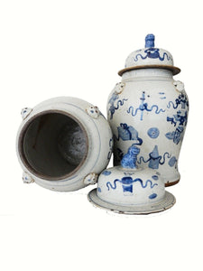 "Superb Large Chinoiserie Blue & White Ginger Jars - a Pair 23"" H"