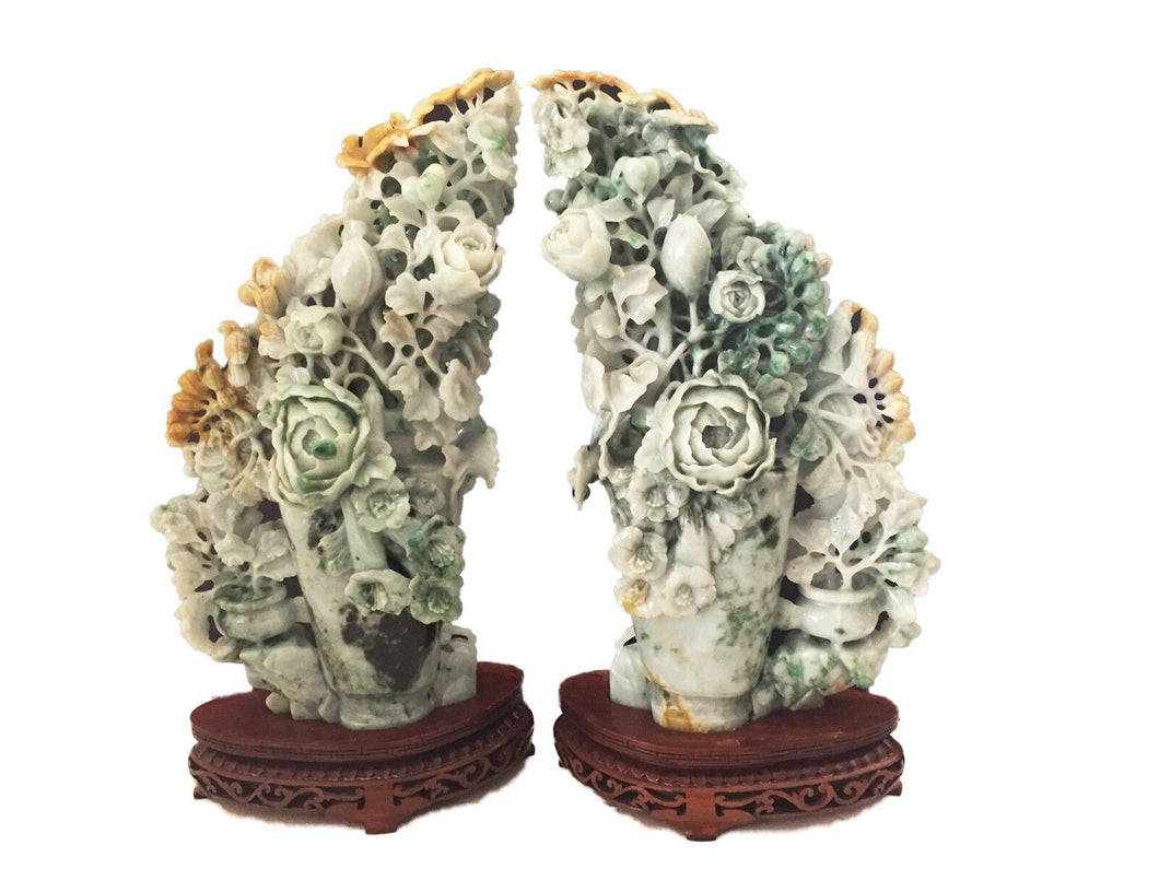 Stunning LG Pair of Chinese Jadeite Jade Peony Groups  16