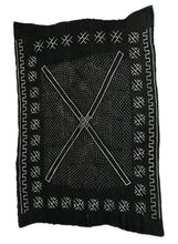 "Load image into Gallery viewer, African LG Black and White Mud Cloth Textile / Blanket  Mali 62"" by 90"" #105"