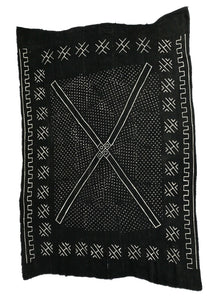 "African LG Black and White Mud Cloth Textile / Blanket  Mali 62"" by 90"" #105"