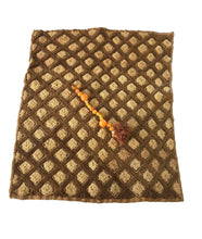 "Load image into Gallery viewer, #1845 Superb African Kuba Kasai Velvet Raffia Textile Zaire w/ Amber Beads20 ""by 23"