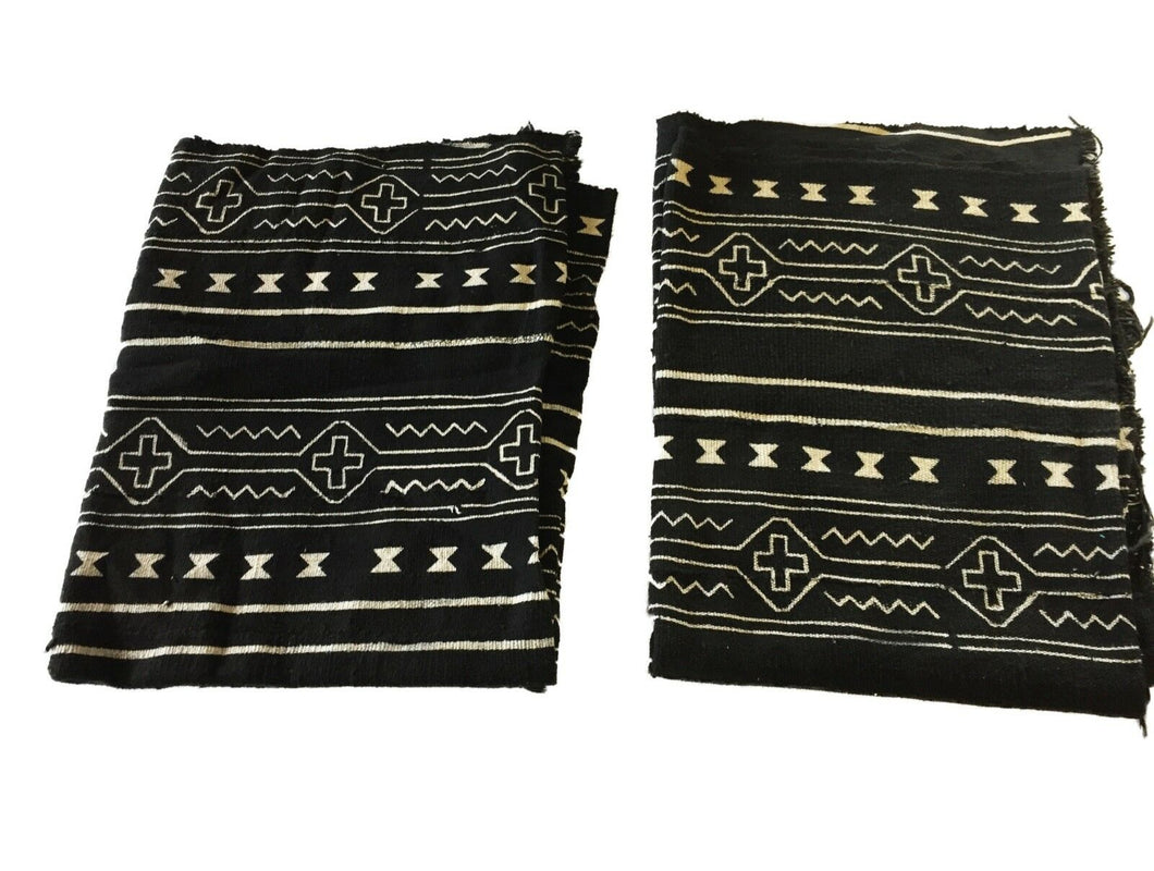 African Mali Black and White Mud Cloth Textile / PAIR 64