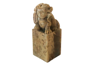 "Superb Chinese Soap Stone Ink Stamp Seal W/ Foo/Fortune  Dog 3.5"" H"