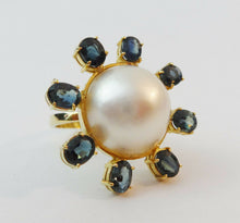 Load image into Gallery viewer, Stunning  18 KT  Yellow Gold Maube Pearl & Sapphire  Ring