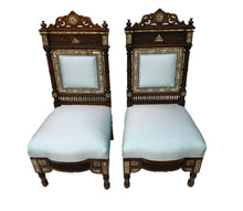 "Load image into Gallery viewer, Museum Quality 19th C Moorish/Middle Eastern Pair of chairs 41"" H"