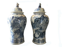 "Load image into Gallery viewer, #917 Mansion Size Chinoiserie B & W Porcelain Ginger Jars - a Pair 47"" H"