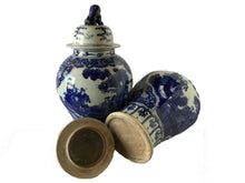 "Load image into Gallery viewer, Chinese Porcelain Chinoiserie  B & W Ginger Jars 23"" H Pair"