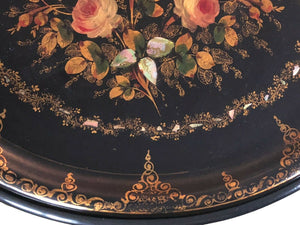 19th Papier Mâché Hand Painted Oval Tray Table W/ Mother of Pearl Inlay 22.5' H #525