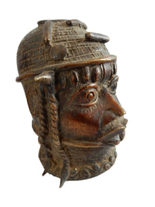 "Stunning Old  Benin Bronze Brass Head of Oba Nigeria African 4.5""H"