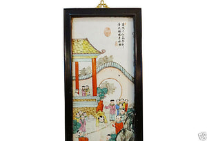 Vintage  Chinese Porcelain hand painted Panel with wood frame