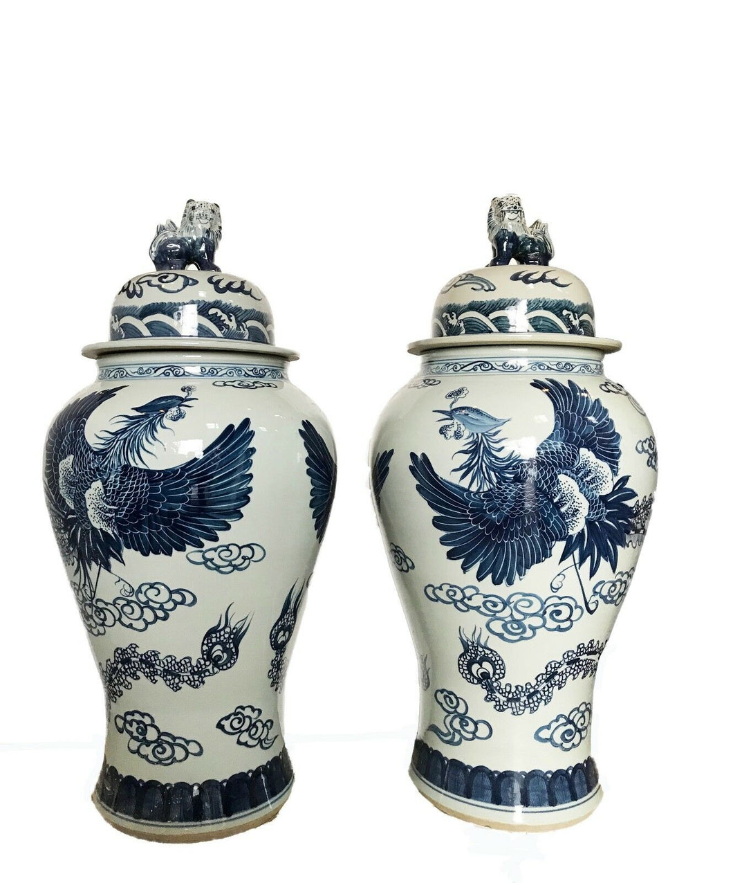 Mansion Size Chinoiserie B & W Porcelain Ginger Jars - a Pair 35