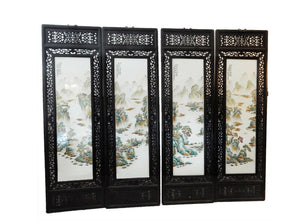 "#1998 Chinese set of 4 Hand Painted Famille Rose Porcelain Panels, 20"" W x 67.5"" H"
